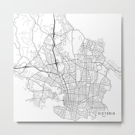 Victoria Map, Canada - Black and White  Metal Print