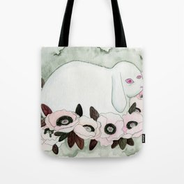 White Rabbit, Pink Poppies Tote Bag