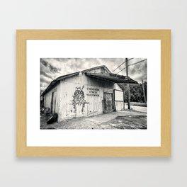 Black & White/Sepia-toned Photograph of Cheatham Street Warehouse, San Marcos, Texas Framed Art Print