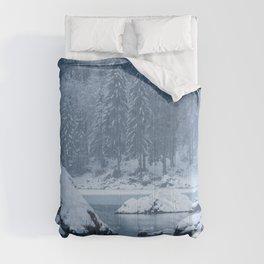 Heavy snow fall lake Fusine, Italy Comforters