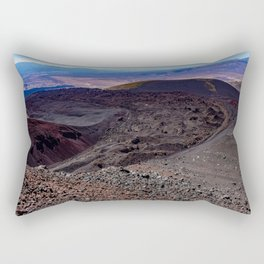 Lava field. Lava mountains of different colors. Rectangular Pillow