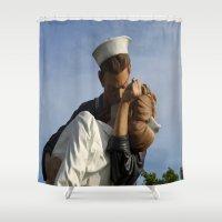 nurse Shower Curtains featuring Kissing Sailor And Nurse Portrait by Christiane W. Schulze Art and Photograph