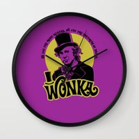 willy wonka Wall Clocks featuring Willy W quote by Buby87