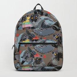 Freddy- Cat pattern Tobacco brown Backpack