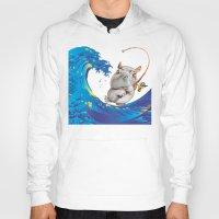 hokusai Hoodies featuring Hokusai Rainbow & Hippopotamus Fishing  by FACTORIE