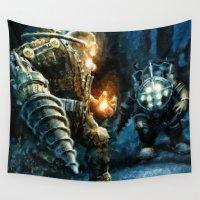 bioshock Wall Tapestries featuring Bioshock Big Daddy Showdown by Joe Misrasi
