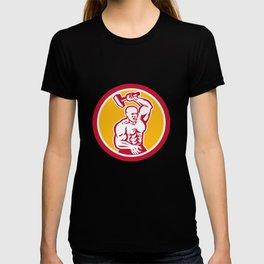 Blacksmith Striking with Sledgehammer Circle Retro T-shirt