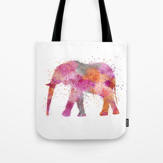 Artsy watercolor Elephant bright orange pink colors Tote Bag