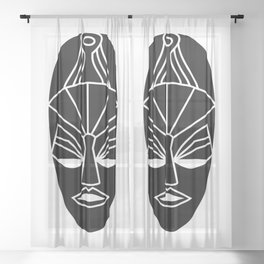 African black traditional tribal mask Sheer Curtain