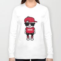 hiphop Long Sleeve T-shirts featuring 30Billion - Hiphop Bear 02 by 30Billion