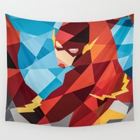 dc comics Wall Tapestries featuring DC Comics Flash by Eric Dufresne