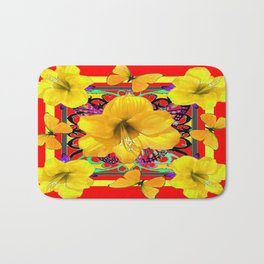 Red Abstract Yellow Butterflies &  Amaryllis Flowers Bath Mat