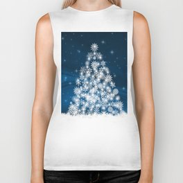 Blue Christmas Eve Snowflakes Winter Holiday Biker Tank