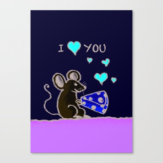 Mouse loves cheese Canvas Print