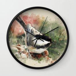 Chickadee Watercolor Art Wall Clock