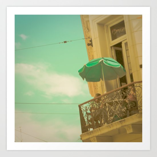 Vintage Turquoise Summer Umbrella (Retro and Vintage Urban Photography)  Art Print