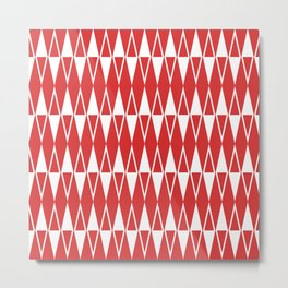 Mid Century Modern Diamond Pattern Red 234 Metal Print