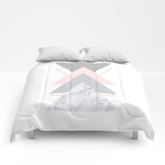 Blush Marble Gray Gold Geometric Pattern Comforters
