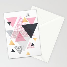 Multi Triangle - Rose Gold and Marble Stationery Cards