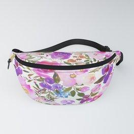 Elegant blush pink violet lavender watercolor summer floral Fanny Pack