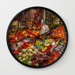 Vegetable stand in Italy Wall Clock