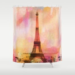Paris Eifel Tower Abstract Art Illustration pink orange yellow Shower Curtain