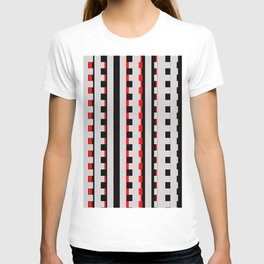 Rectangles Design red black T-shirt