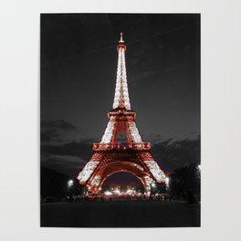 Paris Eiffel Tower Pink Night Poster