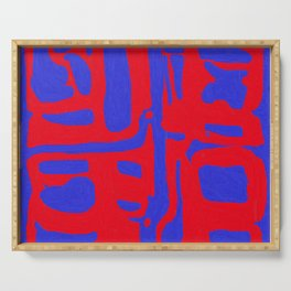 Abstract in Blue and Red II Serving Tray