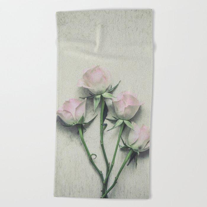 Delicate Roses Beach Towel