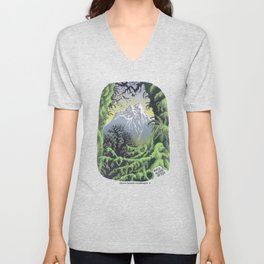 WALK ALONE SPIRIT IN RAIN FOREST AND MOUNTAINS PEN DRAWING Unisex V-Neck