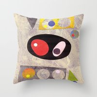 50s Throw Pillows featuring Atomic 50s 60s Inspired Retro Collage Abstract Pink by Beatrice Roberts