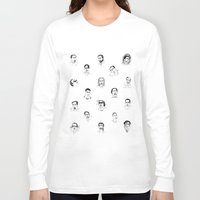 nicolas cage Long Sleeve T-shirts featuring 100 Portraits of Nicolas Cage by Madelin Woods