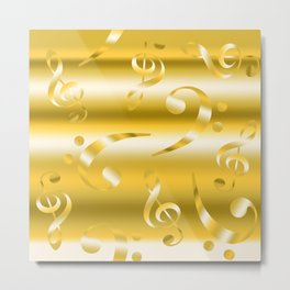 Faux Gold Metallic Treble and Bass Musical Notation Metal Print