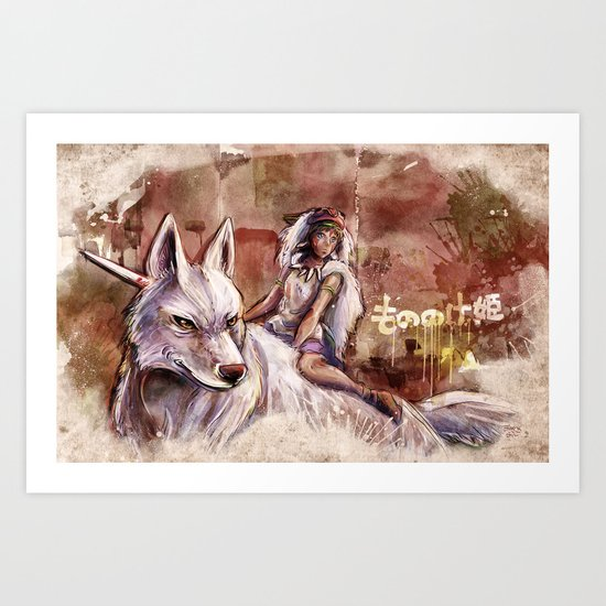 Miyazaki's Mononoke Hime - San and the Wolf TraDigital Painting Art Print