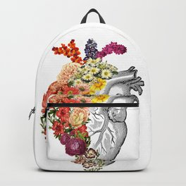 Flower Heart Spring White Backpack