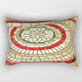 Mosaic Circular Pattern In Red and Gold Rectangular Pillow