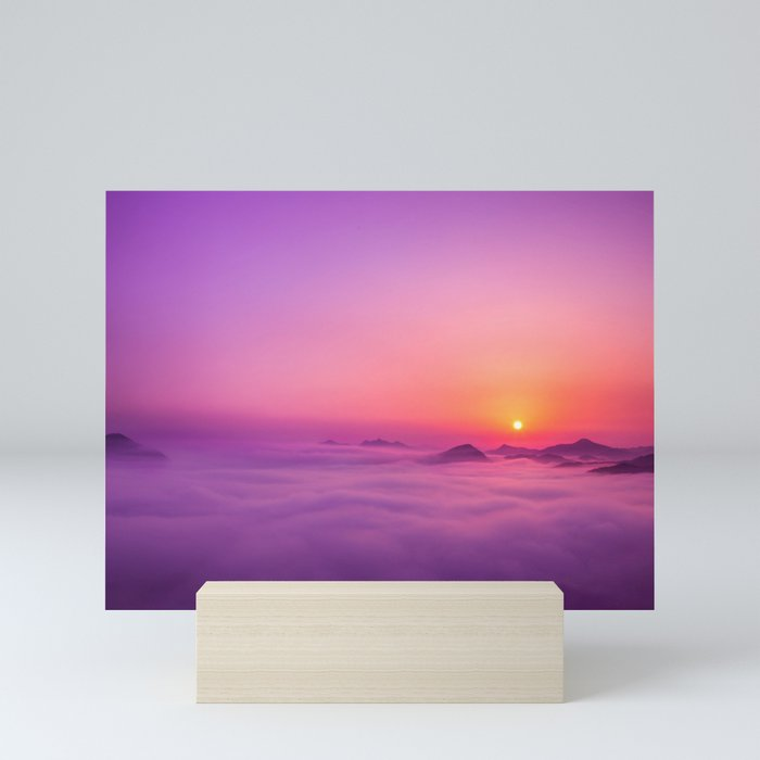 Korean Sunrise over the clouds Mini Art Print