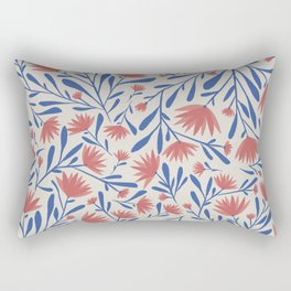 Americana Floral Print // Red, White & Blue Rectangular Pillow
