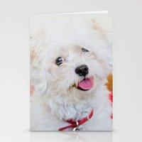 shih tzu Stationery Cards featuring Emma - Bichon Frise / Shih Tzu by Alaina Abplanalp