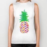 pineapple Biker Tanks featuring Pineapple by Lindsay Milgrim