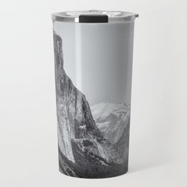 El Capitan, Half Dome and Sentinel Rock from Tunnel View bw Travel Mug