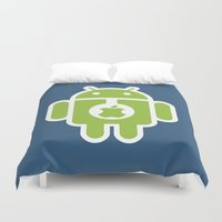 android Duvet Covers featuring Android eats Apple by Metin Seven