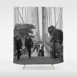 Old Time Godzilla vs. King Kong Shower Curtain