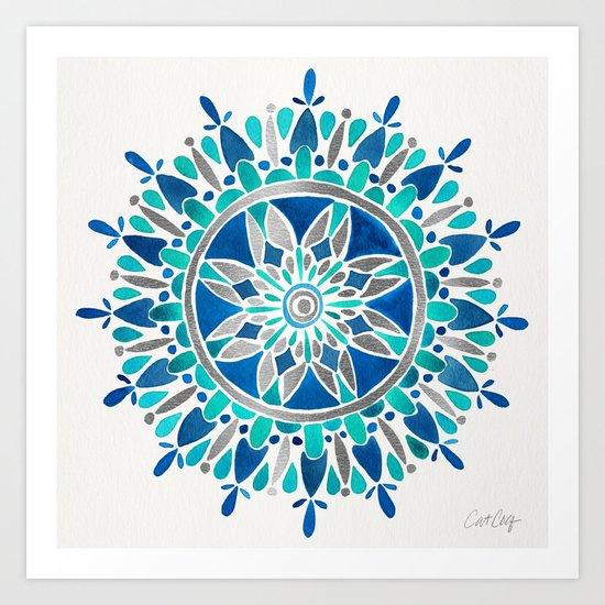 Mandala – Silver & Blue Art Print