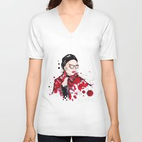vogue V-neck T-shirts featuring VOGUE by CARLOS CASANOVA
