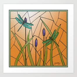Dragonflies Stained Glass Art Print