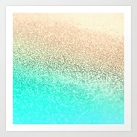 aqua Art Prints featuring GOLD AQUA by Monika Strigel