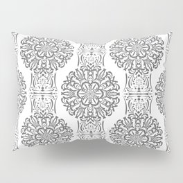Gray white Damask ornament . Pillow Sham