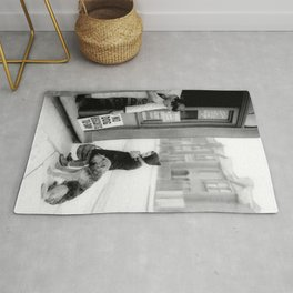 Vintage 'No Dog Biscuits Today' Humorous Little Girl, Dog, and Italian Market black and white photography / photograph Rug